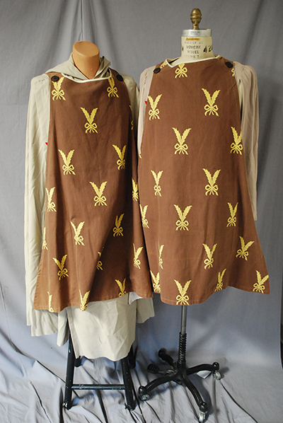 brown tunic with rabbity pattern in yellow