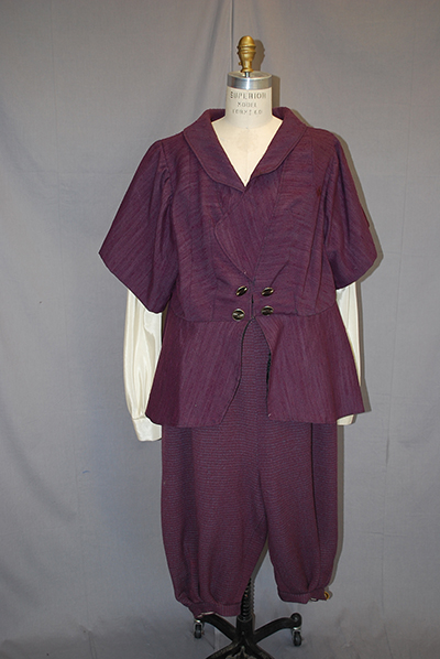 Loose fitting plum colored outfit with jacket and knee pants