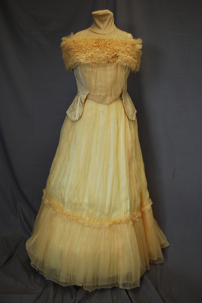 sleeveless light yellow gown with fur trim around the breast, tulle skirt