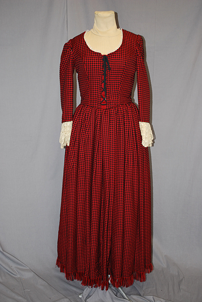 red dress, scoop neck, fitted sleeves, laced bodice, lace at cuffs