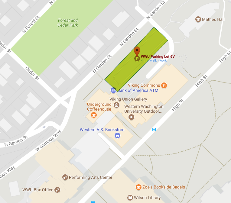Parking lot 6v is off of N Garden St just northeast of Cedar St, in front of the Viking Union