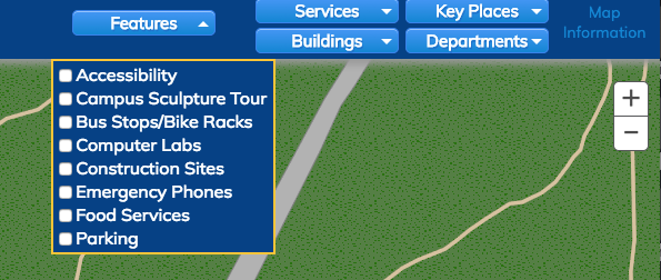 A screenshot of the features menu, on the interactive campus map