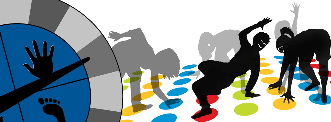 Silhouettes of people playing the game Twister