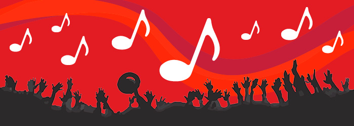 music event. White music notes on a red background with a silhoutted crowd at bottom.