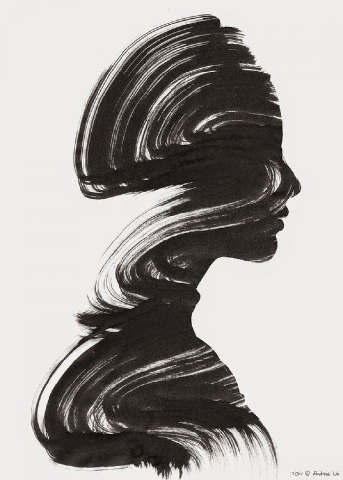 Black brush strokes form the profile of a woman's head and shoulders