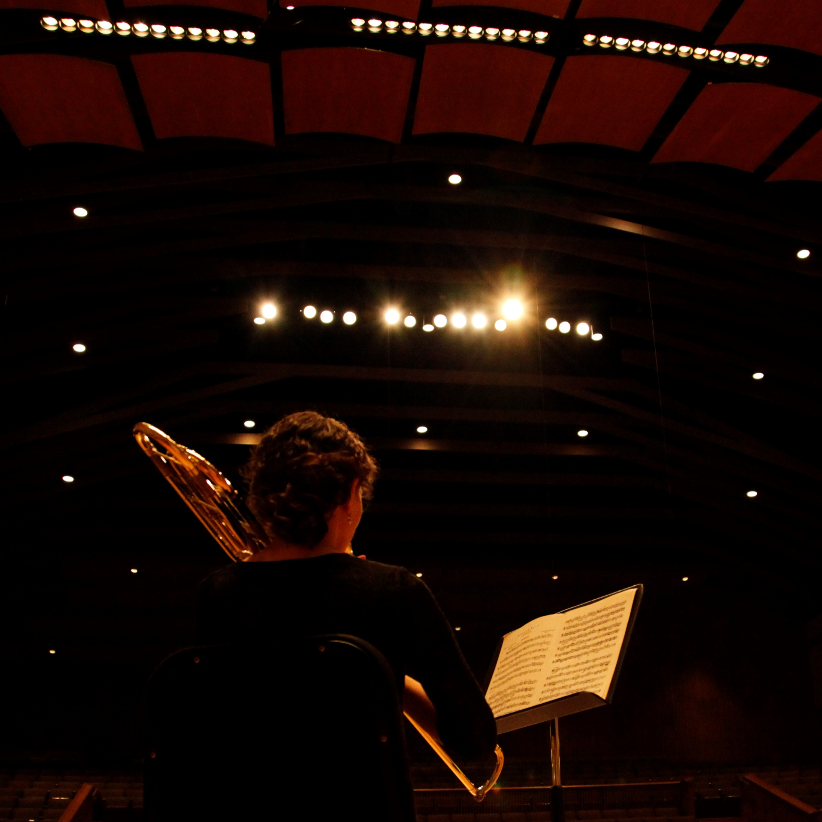 view from backstage of a person playing trombone to a concert hall