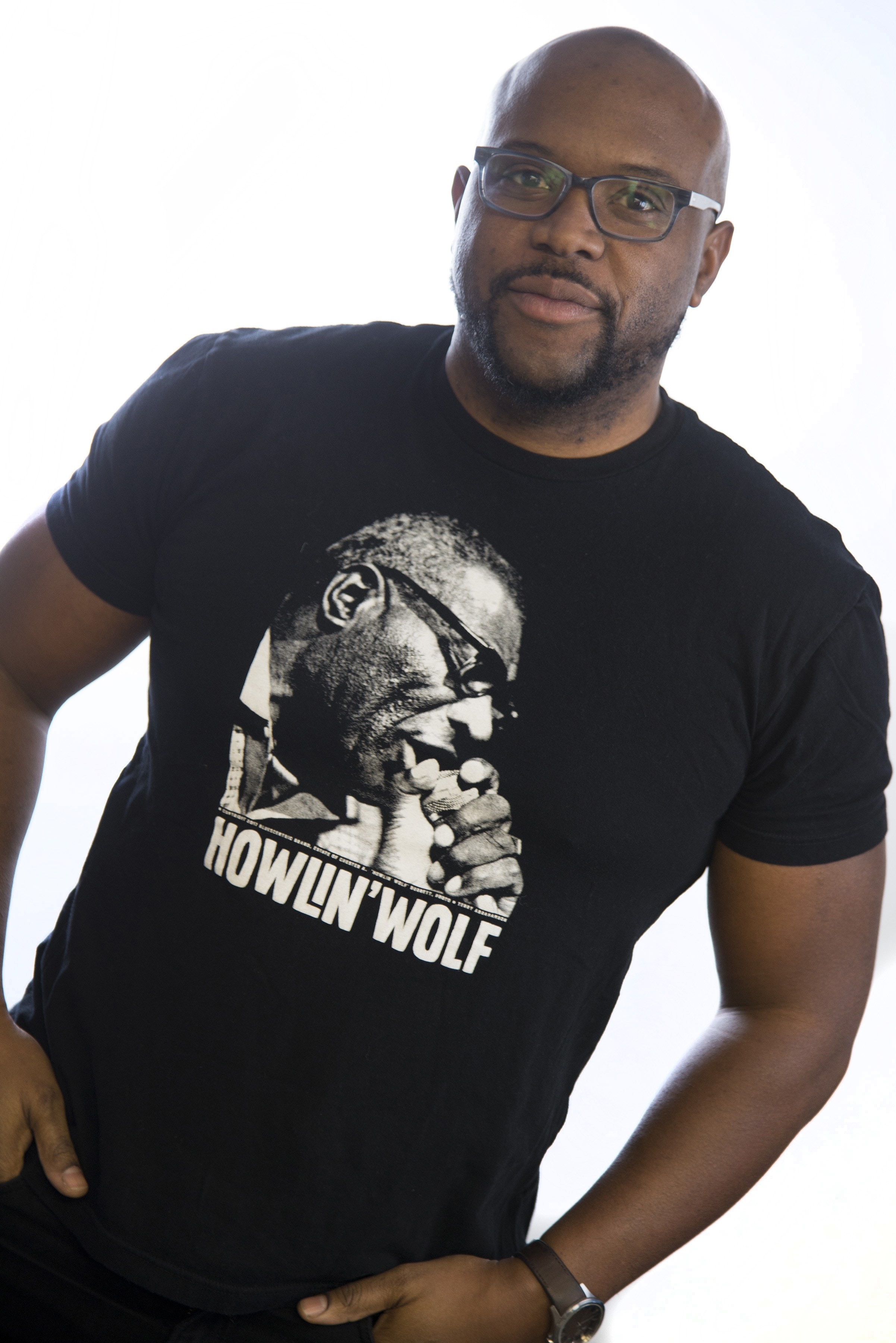 idris goodwin in a cool howlin wolf t-shirt