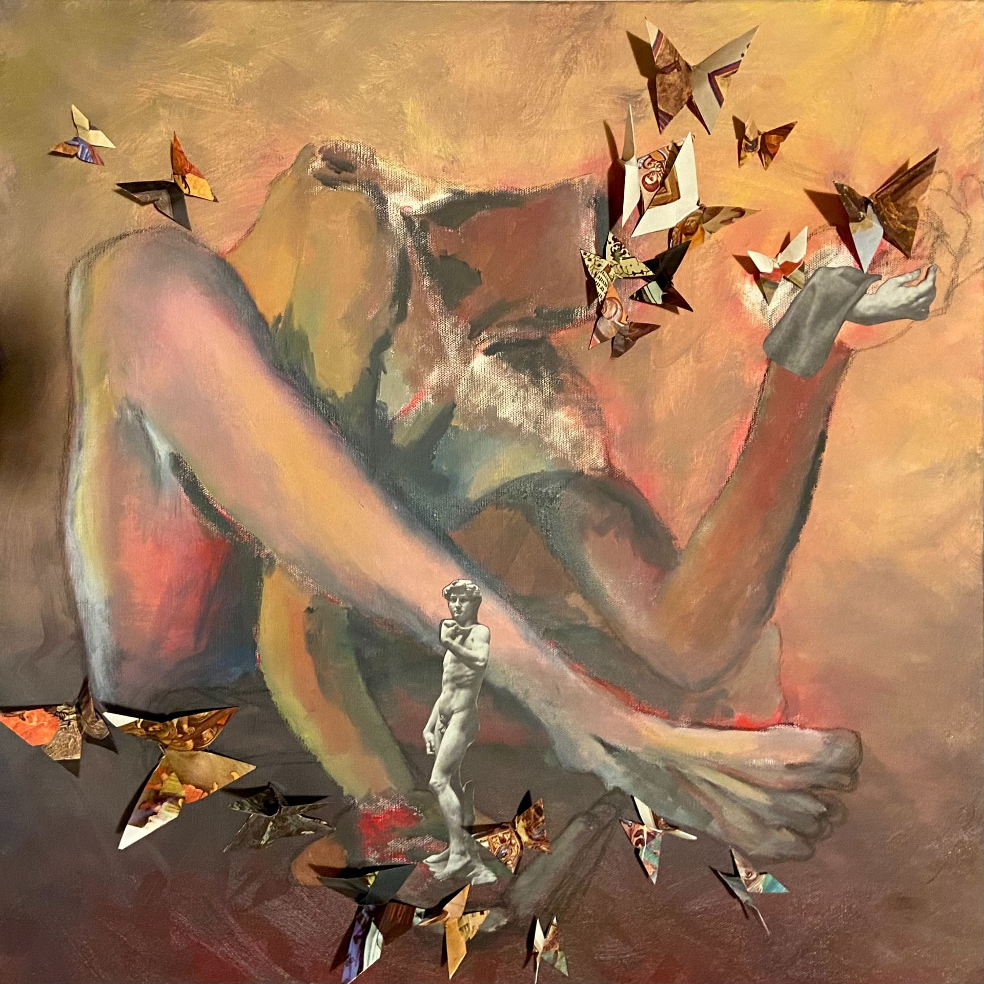 Surreal painting of a body seated with legs loosely crossed. One arm threaded under a leg holds a statue of David in the hand. The other arm, resting on a knee, holds up the hand from a statue. A group of butterflies replaces the body's head, and circles around each hand.