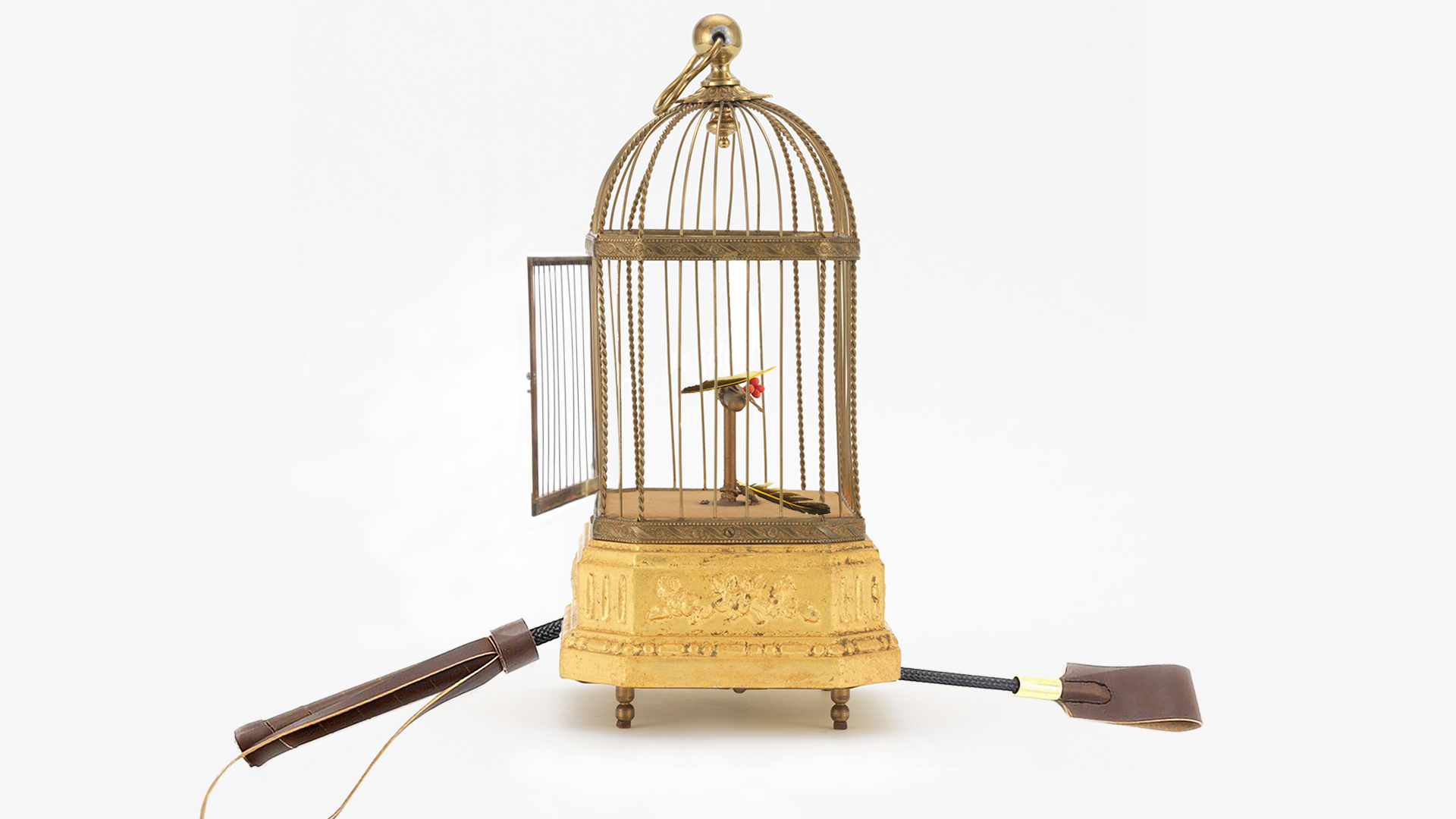 An open bird cage containing two feathers, and a broken riding crop laying next to it