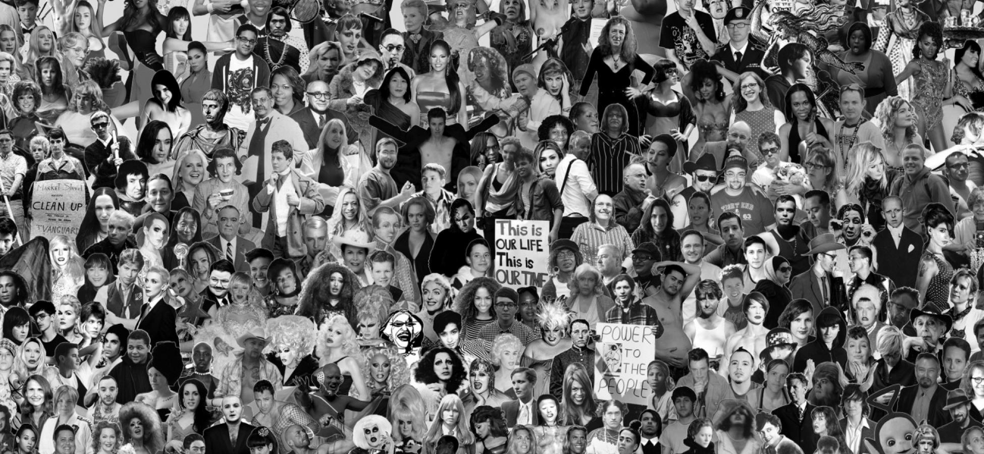 black and white collage of trans-hirstory supporters with the MOTHA logo at top left
