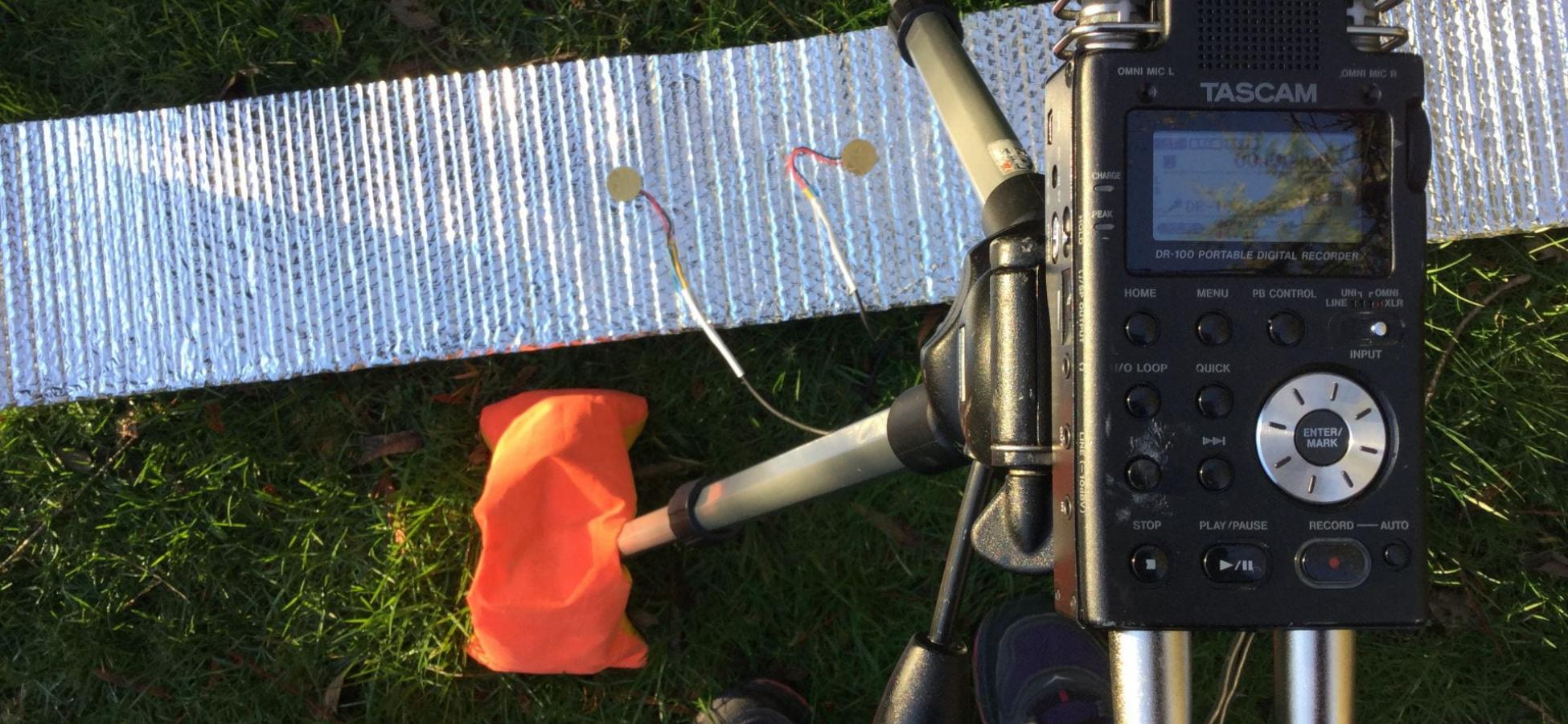 digital recorder, grass, something shiny on the grass