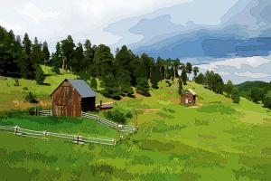 digital painting of a mountain homestead a forest and fields