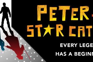 "Dark silhouettes in a doorway; the cast shadow includes stars. The silhouettes' shadows are in color and reveal specific features of the show's Neverland characters. Text to the right says ""Peter and the Star Catcher: Every Legend Has a Beginning"""