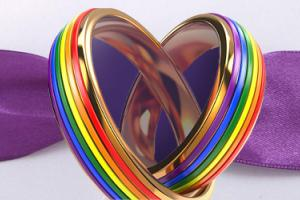 Two rainbow rings intertwined in the shape of a heart, in front of purple ribbon