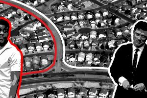 black and white imagery: arial view of suburbs - partly outlined by red, partly outlined by white. In the foreground is a black couple outlined in red and a white couple outlined in white, each looking toward the other couple