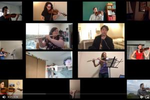 tiled images of orhcestra musicians on a video screenshot