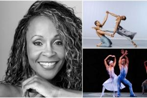 3 picture collage: 1. a smiling person with stylish long hair, 2. a dancer leaping onto the shoulder of a kneeling dancer, their hands linked to form a square with their arms, 2. two dancers in a sassy pose on stage