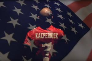 Star field of American Flag superimposed on Colin kaepernick